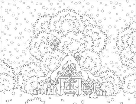 クリスマスに雪に覆われたログ小屋  イラスト・ベクター素材