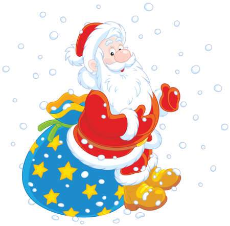 Santa with his gift bag on a white background. Illustration