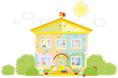 A Kindergarten with toys on a white background.