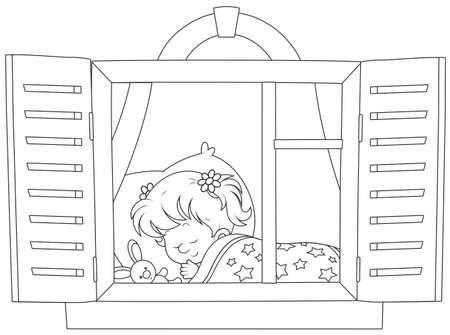 眠れる森の少女  イラスト・ベクター素材
