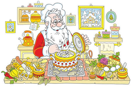 Santa Claus cooking soup in his kitchen.
