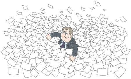 Clerk among waves in sea of paper.
