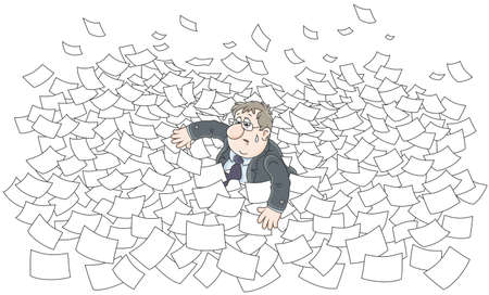 Clerk among waves in sea of paper.