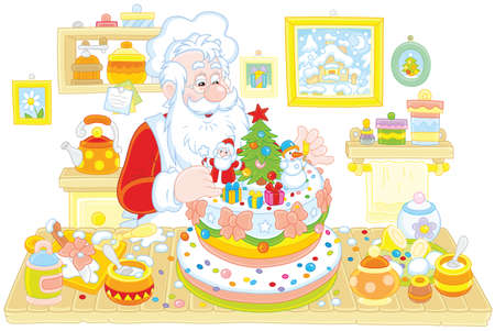 Santa Claus cooking a fancy Christmas cake in his kitchen Illustration