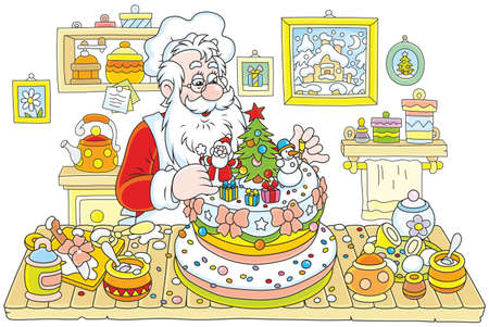 Santa Claus cooking a fancy Christmas cake