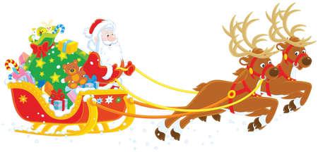 Sleigh di Natale di Babbo Natale su sfondo bianco. Archivio Fotografico - 88926810
