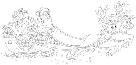 Christmas Sleigh of Santa Claus Çizim