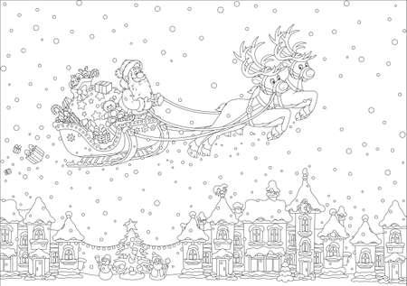 Magisch rendier vliegende Santa Claus met Kerstmisgiften over een snow-covered stad op Kerstmisvooravond.