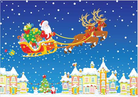 Renna magica che vola Babbo Natale con i regali di Natale sopra una città innevata alla vigilia di Natale. Vettoriali
