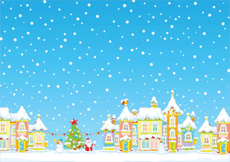 Christmas background with a snow-covered town. Stock Vector - 89284896