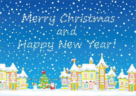 Christmas card with a snow-covered town, a decorated tree, a snowman and Santa Claus