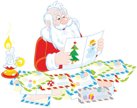 Santa Claus reading letters from children