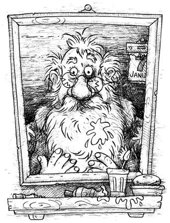Santa Claus looking at himself in the bathroom mirror after holidays on January 7