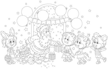 Santa Claus giving Christmas presents to little children in masquerade masks of funny animals Illustration