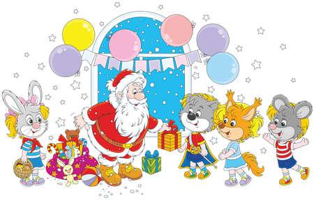 Babbo Natale con regali di Natale per i bambini in maschera mascherata di animali divertenti Archivio Fotografico - 90535069