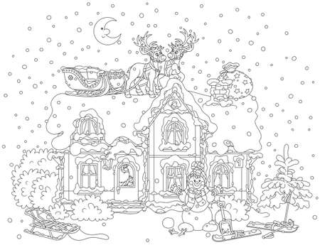 The night before Christmas, Santa Claus with gifts in a house, his sledge with magic reindeer on a snow-covered housetop. Vettoriali