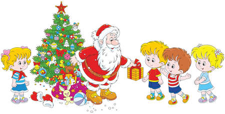 Santa with gifts for children