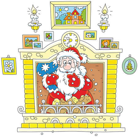 Santa came down the chimney Illustration