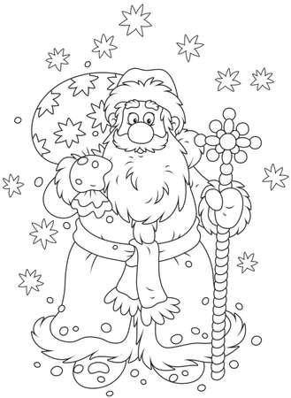 Santa Claus con su bolsa de regalo y un bastón mágico Foto de archivo - 90824708