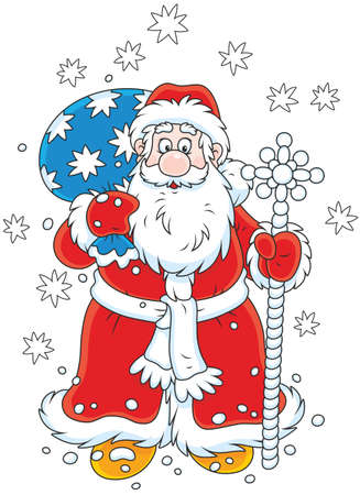 Santa Claus with his gift bag and a magical staff Illustration