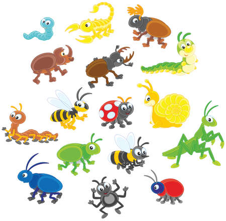 Set of funny insects in cartoon style