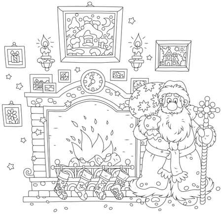 Santa Claus with his gift bag near a fireplace with stockings for Christmas presents
