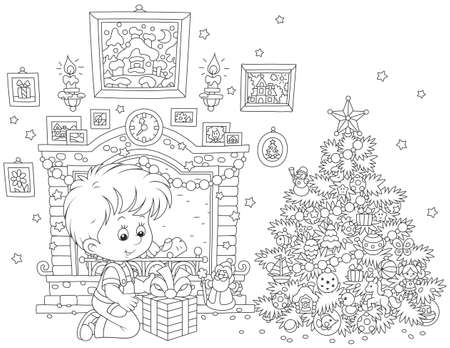 Boy with his Christmas gift Vector illustration.