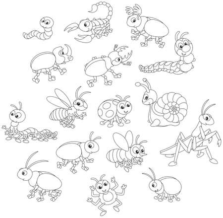 Vector set of funny insects in cartoon style Иллюстрация