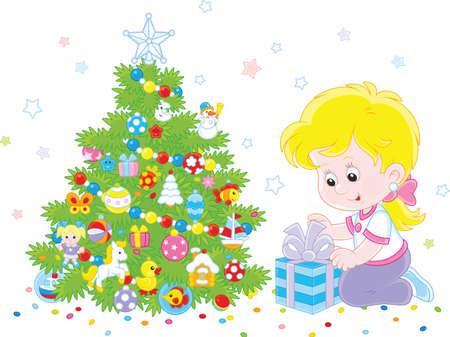 Ragazza con un regalo di Natale. Archivio Fotografico - 91281254