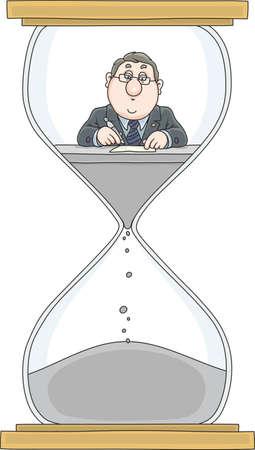 Clerk in a hourglass on white background, vector illustration Ilustração