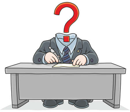 Clerk with a question mark on white background, vector illustration