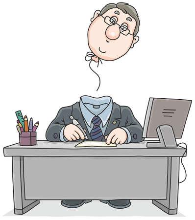 Clerk with a flown away head Stock Illustratie