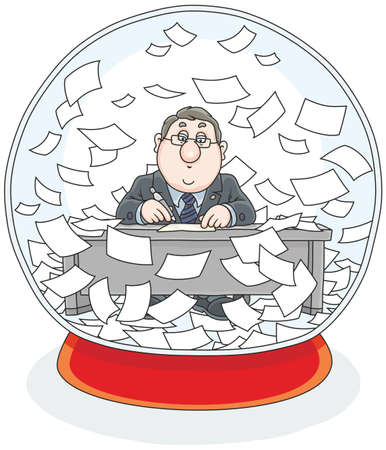 Crystal ball with a clerk and papers inside Illustration