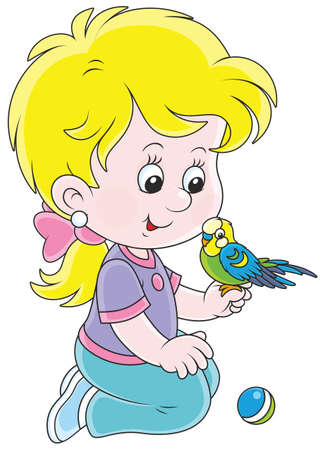 Little girl playing with her budgerigar Illustration