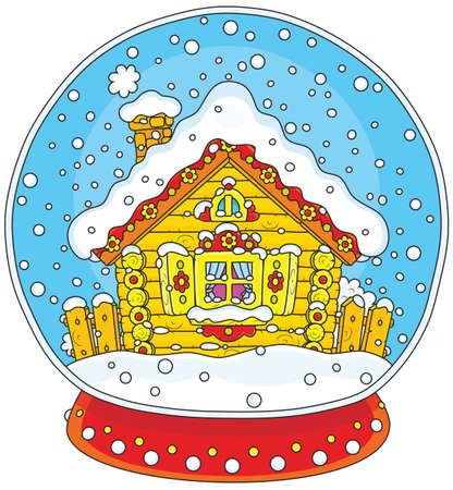Sfera di cristallo di Natale con una capanna coperta di neve