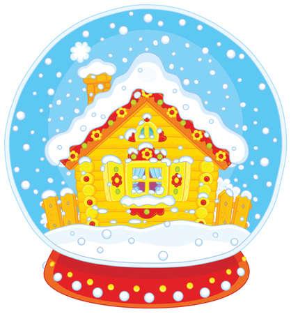 Sfera di cristallo di Natale con una casa coperta di neve Archivio Fotografico - 91398075