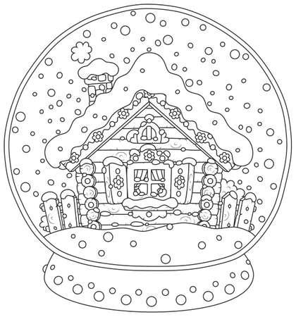 Sfera di cristallo di Natale con una casa coperta di neve