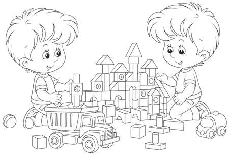 Two little boys playing with toy bricks and cars