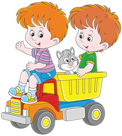 Little boys with a toy truck 일러스트