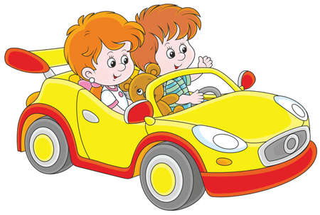Little children playing in a toy sports car