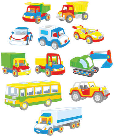 Set of toy cars, trucks and buses Illustration