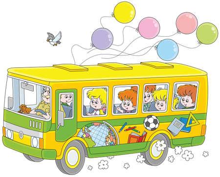 Kids in a school bus.