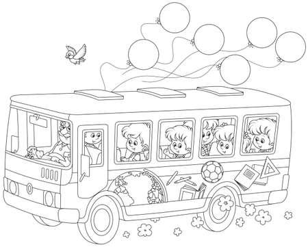 Children in a school bus.