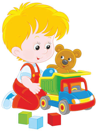 Little boy with a toy truck. Vector illustration.