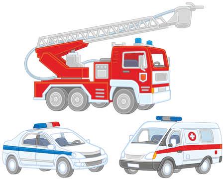 set of a fire truck, an ambulance car. Vectores