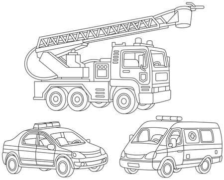 set of a fire truck, an ambulance car. Vettoriali