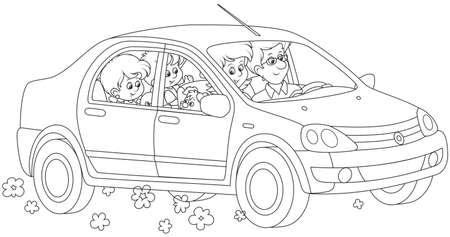 Happy family riding by car. Vector illustration isolated on white background. Ilustração