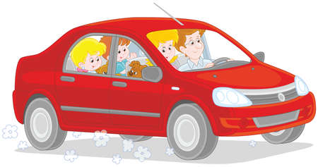 Happy family riding by car. Vector illustration isolated on white background. Vettoriali