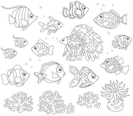 Black and white vector set of fishes in cartoon style Ilustração