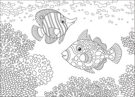 Butterfly fish and triggerfish icons 일러스트